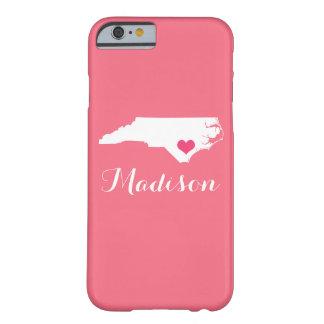 North Carolina Heart Pink Custom Monogram Barely There iPhone 6 Case
