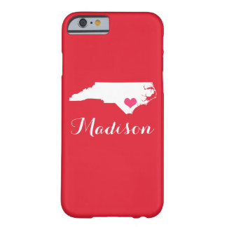 North Carolina Heart Red Custom Monogram Barely There iPhone 6 Case
