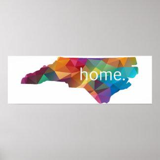 North Carolina HOME Lowpoly Rainbow Poster