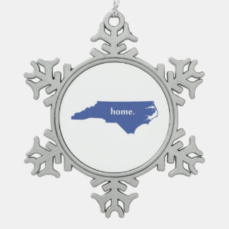North Carolina home silhouette state map Snowflake Pewter Christmas Ornament