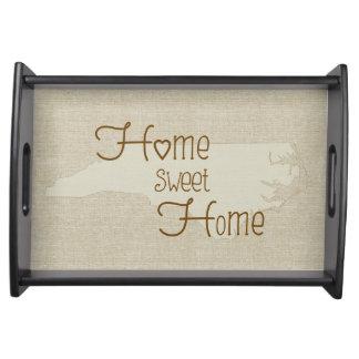North Carolina Home Sweet Home burlap-look Food Tray