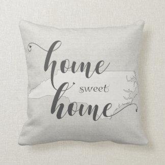 North Carolina - Home Sweet Home burlap-look Throw Pillow