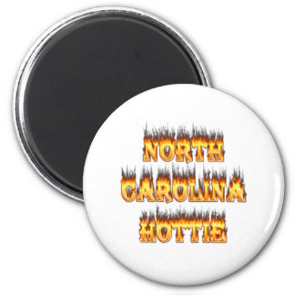North Carolina Hottie fire and flames 2 Inch Round Magnet