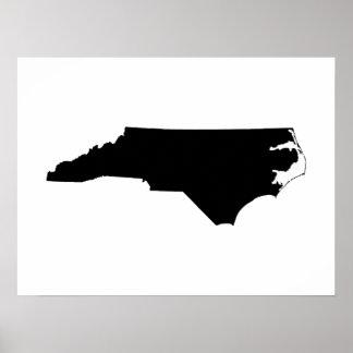 North Carolina in Black and White Poster