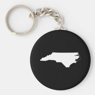 North Carolina in White and Black Basic Round Button Keychain
