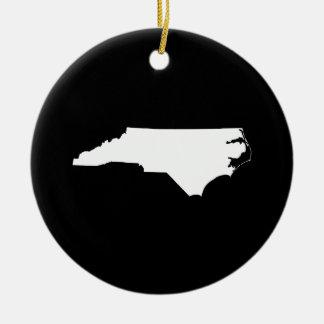 North Carolina in White and Black Ceramic Ornament