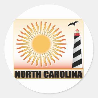 North Carolina Lighthouse Sun Classic Round Sticker