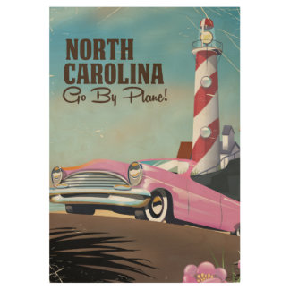 North Carolina Lighthouse travel poster Wood Poster