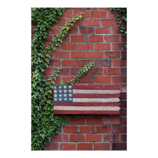 North Carolina, Linville, wooden US flag Poster