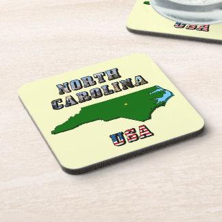 North Carolina Map and Text Coaster