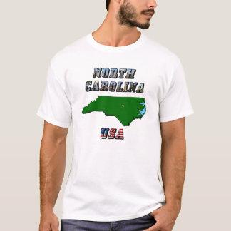 North Carolina Map and Text T-Shirt