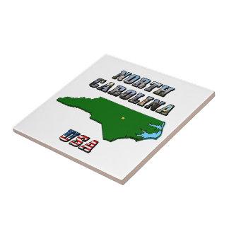 North Carolina Map and Text Tile
