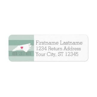 North Carolina Map Home State Love - Custom Heart Return Address Label