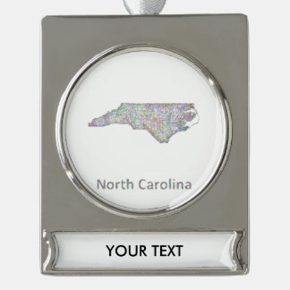 North Carolina map Silver Plated Banner Ornament