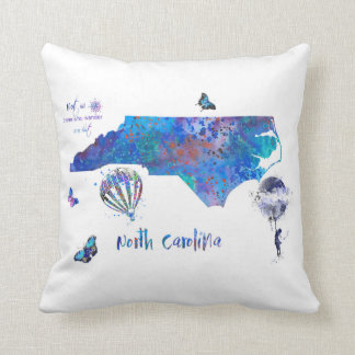 North Carolina map, watercolor North Carolina Throw Pillow