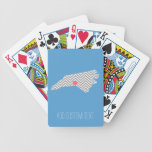 North Carolina Map with Custom Heart and Name Bicycle Playing Cards