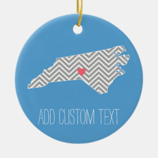North Carolina Map with Custom Heart and Name Ceramic Ornament