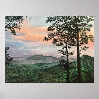 North Carolina Mountain Sunrise Acrylic Painting Poster