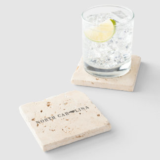 North Carolina Name with State Shaped Letter Stone Coaster