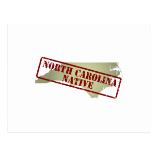 North Carolina Native Stamped on Map Post Card