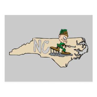 North Carolina NC Cartoon Map with Hunter Post Card