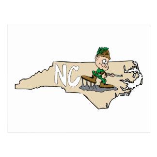North Carolina NC Cartoon Map with Hunter Postcards
