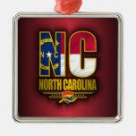 North Carolina (NC) Square Metal Christmas Ornament