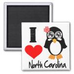 North Carolina Penguin - I Love North Carolina Magnets