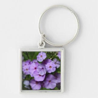 North Carolina Phlox Flowers Silver-Colored Square Keychain