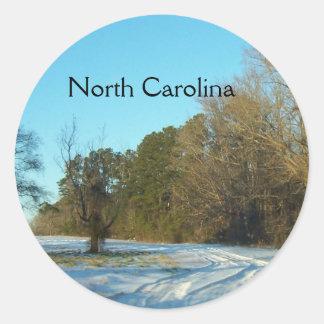 North Carolina - Pretty Rural Snow Scene Classic Round Sticker