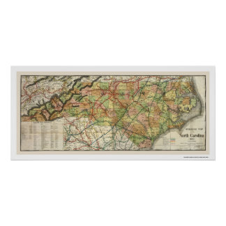 North Carolina Railroad Map 1900 Poster
