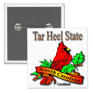 North Carolina Red Cardinal 2 Inch Square Button