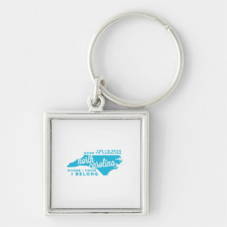 north carolina | song lyrics | sky blue Silver-Colored square keychain