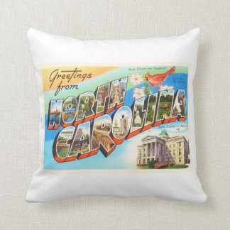 North Carolina State #2 NC Vintage Travel Postcard Throw Pillow