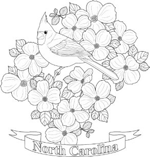 north carolina state bird and flower coloring page cloth napkin