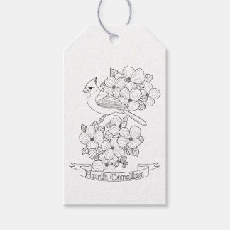North Carolina State Bird And Flower Coloring Page Gift Tags