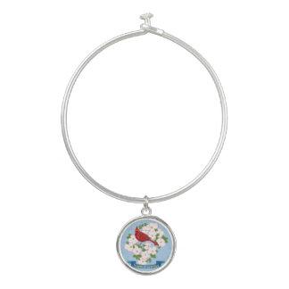 North Carolina State Cardinal Bird Dogwood Flower Bangle Bracelet