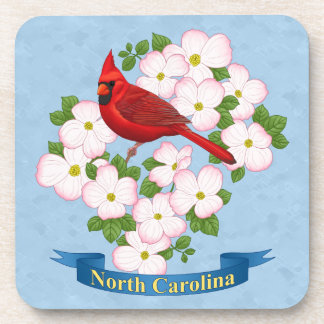 North Carolina State Cardinal Bird Dogwood Flower Beverage Coaster