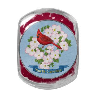 North Carolina State Cardinal Bird Dogwood Flower Glass Jar