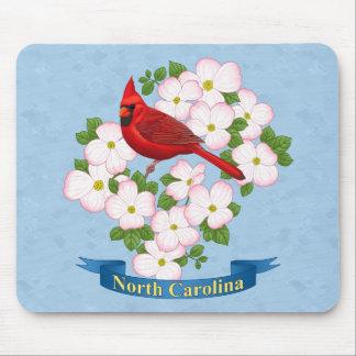 North Carolina State Cardinal Bird Dogwood Flower Mouse Pad