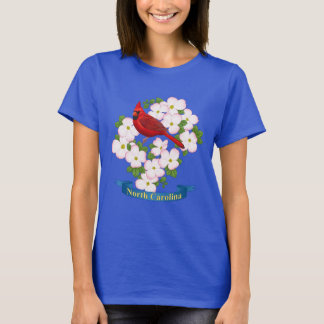 North Carolina State Cardinal Bird Dogwood Flower T-Shirt