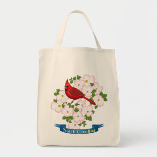North Carolina State Cardinal Bird Dogwood Flower Tote Bag