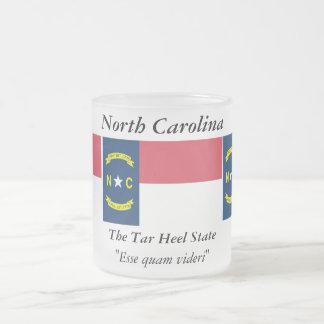 North Carolina State Flag Frosted Glass Coffee Mug