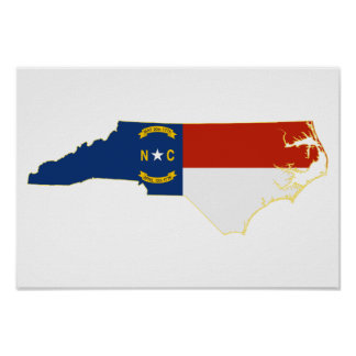 North Carolina State Flag Map Poster
