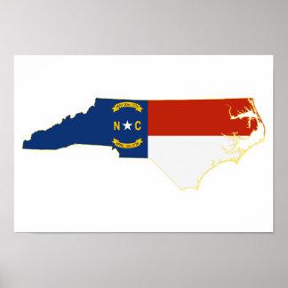 North Carolina State Flag Map Poster