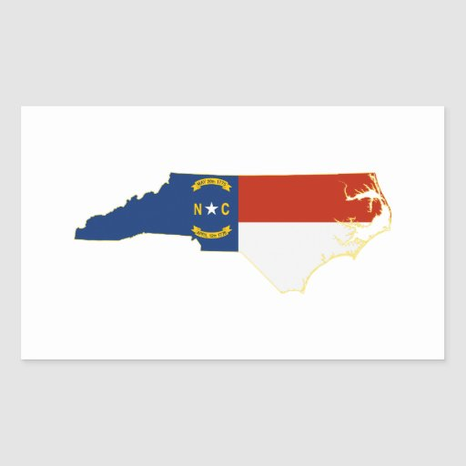 North Carolina State Flag Map Rectangular Sticker  Zazzle
