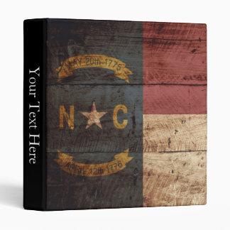 North Carolina State Flag on Old Wood Grain Binder