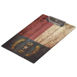 North Carolina State Flag on Old Wood Grain Clipboards
