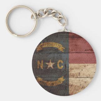 North Carolina State Flag on Old Wood Grain Keychain