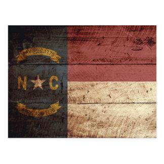 North Carolina State Flag on Old Wood Grain Postcard